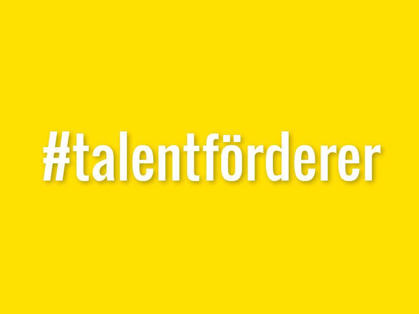#talentförderer auf gelben Hintergrund