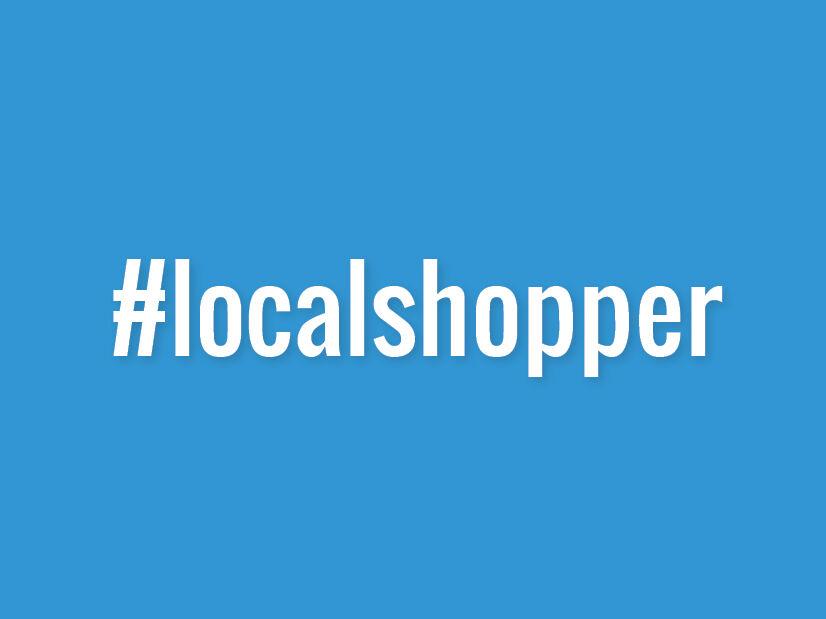 Schriftzug #localshopper auf blauen Hintergrund