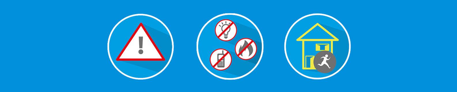 Sicherheitshinweise - Keine Panik - Keine Funken, Flammen - Haus verlassen